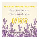 Reserva púrpura de la flor salvaje del amarillo de invitación personalizada