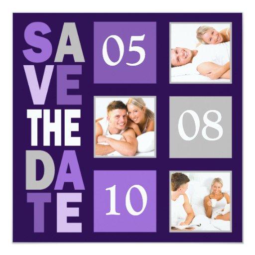 Reserva púrpura de la foto las invitaciones de la invitación 13,3 cm x 13,3cm