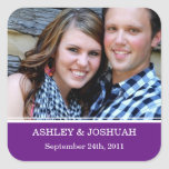 Reserva púrpura de la foto los pegatinas de la calcomania cuadrada personalizada