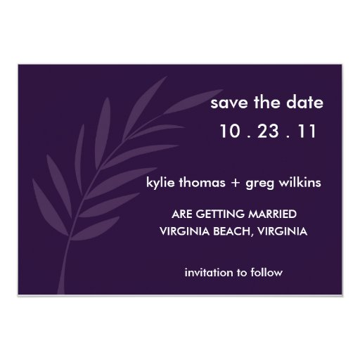 """Reserva púrpura de la pasión la fecha invitación 5"""" x 7"""""""