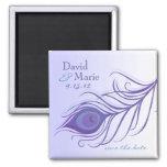 Reserva púrpura de la pluma del pavo real el imán
