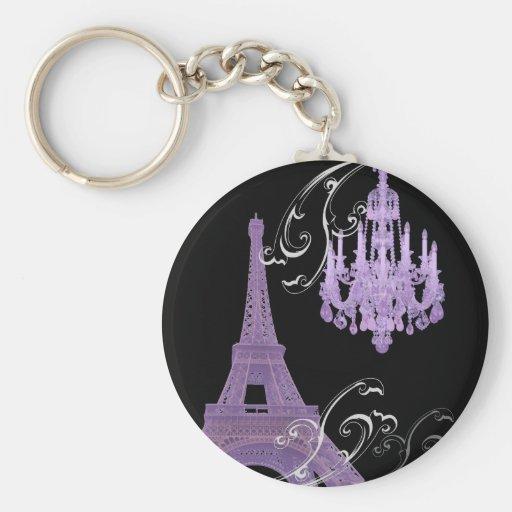 Reserva púrpura de la torre de Effiel de la lámpar Llavero Personalizado