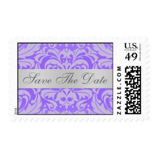 Reserva púrpura de la voluta del damasco el timbre postal