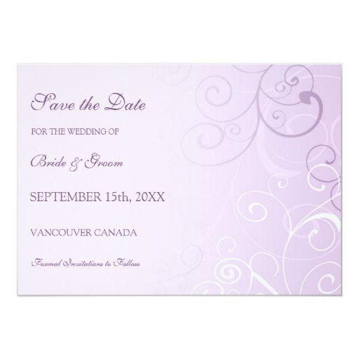 Reserva púrpura del boda de la foto del remolino invitación 12,7 x 17,8 cm