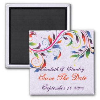Reserva púrpura del boda de la hoja colorida de la imán cuadrado