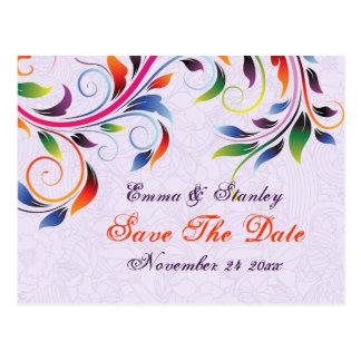 Reserva púrpura del boda de la hoja colorida de la postales