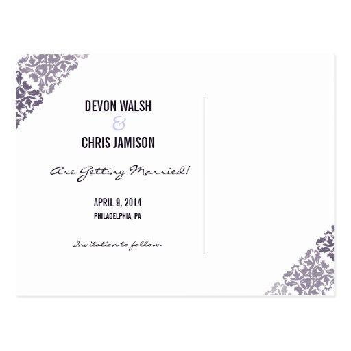 Reserva púrpura del boda de Ombre del damasco la f Postales