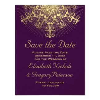 """Reserva púrpura del boda del invierno del copo de invitación 4.25"""" x 5.5"""""""