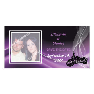 Reserva púrpura del boda del motorista del camino tarjetas fotograficas personalizadas