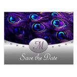 Reserva púrpura del boda del pavo real las postal