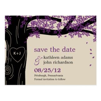 Reserva púrpura del boda del roble la postal de la