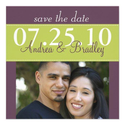 Reserva púrpura del boda del verde moderno de la p invitaciones personales
