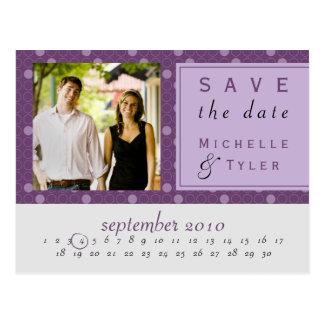 Reserva púrpura del círculo la tarjeta de fecha postal