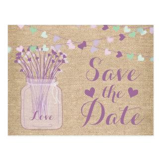 Reserva púrpura del cordón de la arpillera del tar tarjeta postal