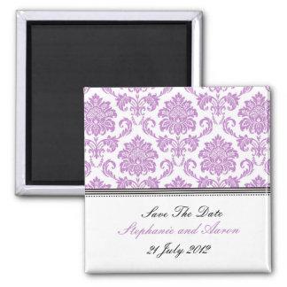 Reserva púrpura del damasco la fecha imán cuadrado