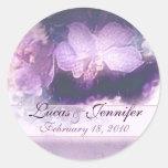 reserva púrpura del lino de las orquídeas n la fec pegatina