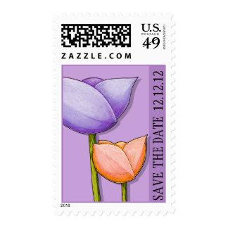 Reserva púrpura del naranja de las flores simples sello