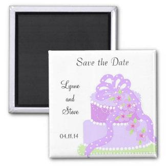 Reserva púrpura del pastel de bodas de la cinta la imán cuadrado