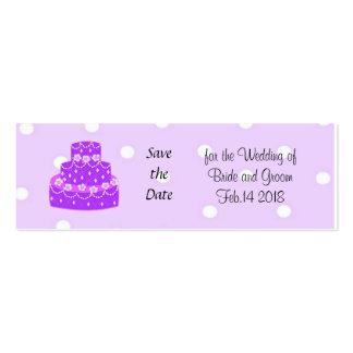 Reserva púrpura del pastel de bodas la fecha tarjetas de visita mini