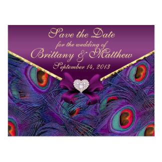 Reserva púrpura del pavo real del ciruelo la tarjeta postal