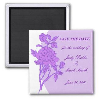 Reserva púrpura del personalizado de la flor el imán cuadrado