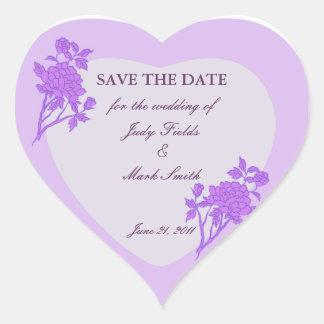 Reserva púrpura del personalizado de la flor los pegatina en forma de corazón