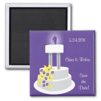 Reserva púrpura del primero del pastel de bodas el imán cuadrado
