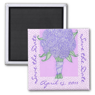 Reserva púrpura del ramo la fecha imán cuadrado
