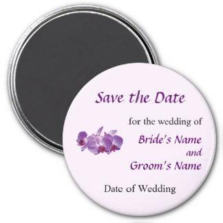 Reserva púrpura del trío de la orquídea la fecha imán redondo 7 cm