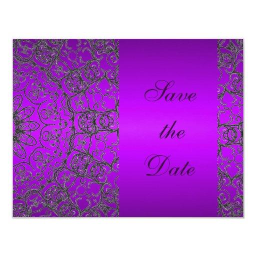"Reserva púrpura moderna de la ducha del boda la invitación 4.25"" x 5.5"""