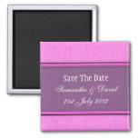 Reserva púrpura rosada del monograma del damasco l imanes de nevera