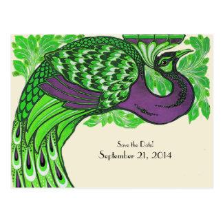 Reserva púrpura verde del pavo real del vintage la tarjeta postal