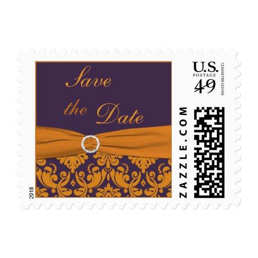 Reserva púrpura y anaranjada del damasco el sellos