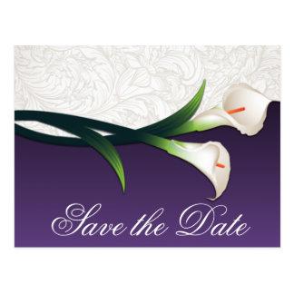 Reserva púrpura y blanca del boda de la cala las postal