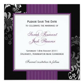 """Reserva púrpura y negra del boda del damasco la invitación 5.25"""" x 5.25"""""""