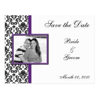 Reserva púrpura y negra del damasco las postales d
