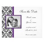 Reserva púrpura y negra del damasco las tarjetas d invitación personalizada