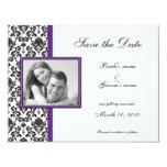 Reserva púrpura y negra del damasco las tarjetas invitación personalizada