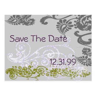 Reserva púrpura y verde de Swirly la fecha Postales