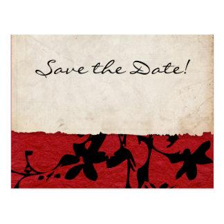 Reserva rasgada roja y negra del boda de papel la tarjetas postales