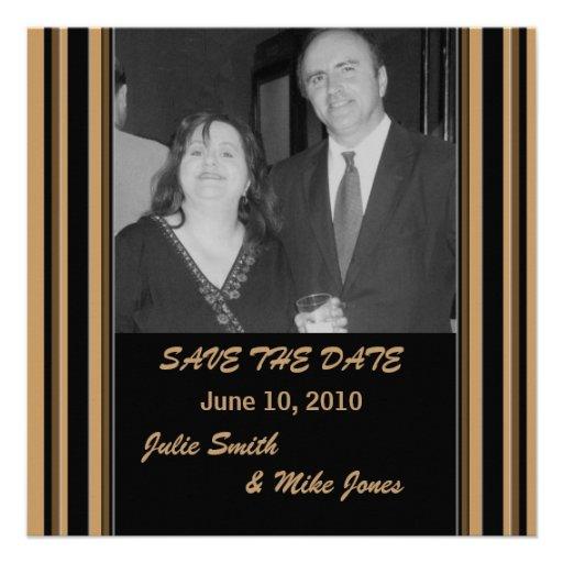 Reserva rayada Brown negra la fecha Invitacion Personal