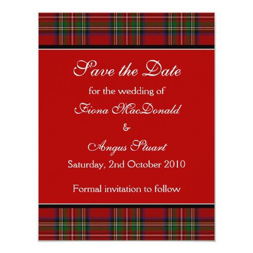 Reserva real del boda del tartán de Estuardo la Invitación 10,8 X 13,9 Cm