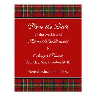 Reserva real del boda del tartán de Estuardo la ta Comunicados Personalizados