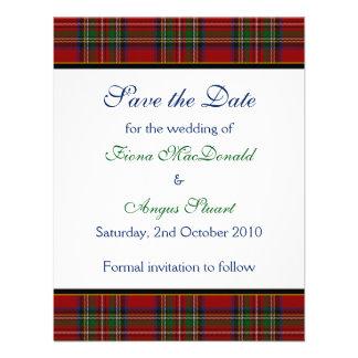 Reserva real del boda del tartán de Estuardo la ta Comunicado Personalizado