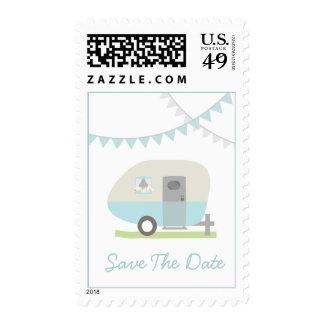 Reserva retra azul del boda del remolque la fecha envio