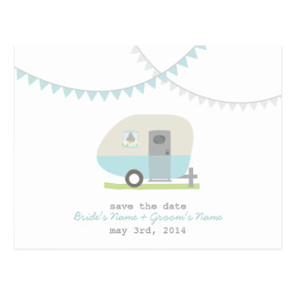 Reserva retra azul del boda del remolque la postal