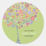 Reserva retra del árbol del círculo de la verde li etiquetas redondas