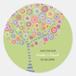 Reserva retra del árbol del círculo de la verde etiquetas redondas