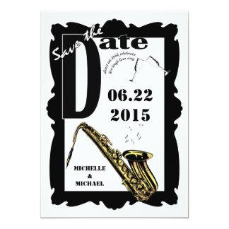 Reserva retra del jazz del estilo el blanco 3 del invitación 12,7 x 17,8 cm