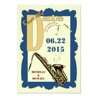 Reserva retra del jazz del estilo la fecha invitación 12,7 x 17,8 cm